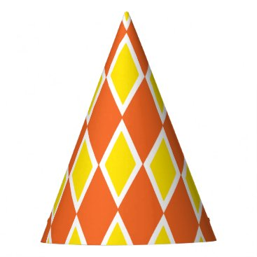 Halloween Themed Harlequin Orange and Yellow Party Hat