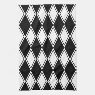 harlequin pattern black and white towel