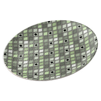 Harlequin Pattern Curved Green Plate