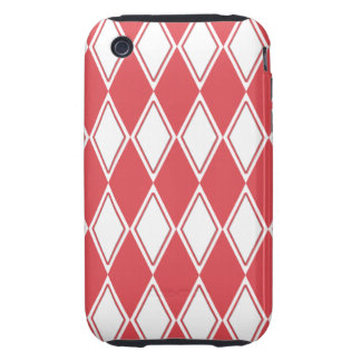 Harlequin Pattern Flamingo Red and White Tough iPhone 3 Case