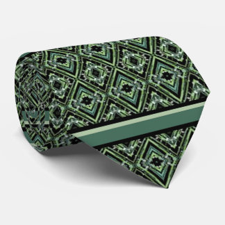 Harlequin Pattern in Black/Green, Teal, and Green Tie