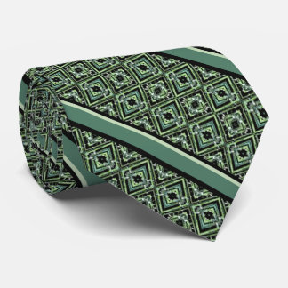 Harlequin Pattern in Black, Teal, and Green Neck Tie