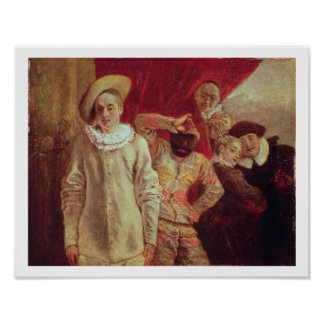 Harlequin, Pierrot and Scapin, Actors from the Com Print