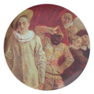 Harlequin, Pierrot y Scapin, actores de COM Plato De Comida