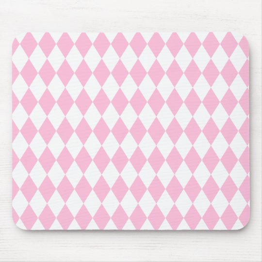 Harlequin Pink and White Mouse Pad