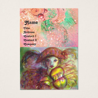 HARLEQUIN , pink red yellow green blue sparkles Business Card