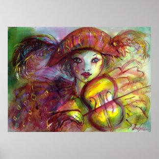 HARLEQUIN PLAYING VIOLIN / Venetian Carnival Poster