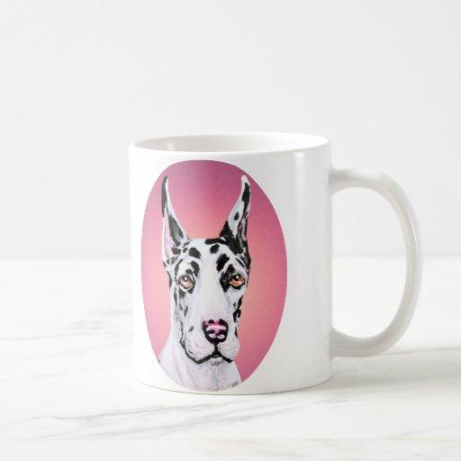 Harlequin Pup Pink Check Mug