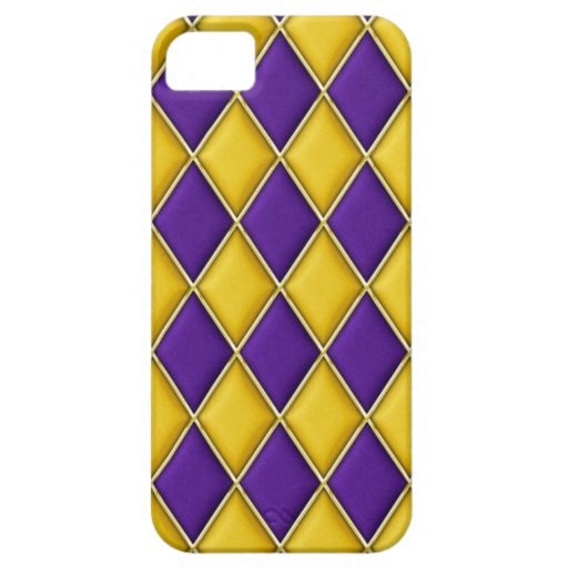 Harlequin Purple Gold Diamonds iPhone 5 Case