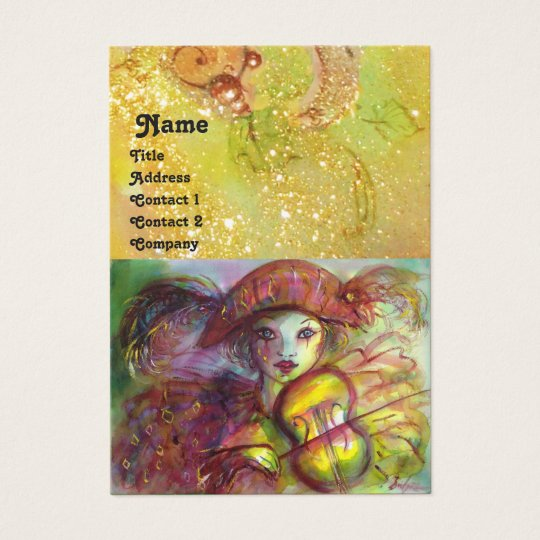 HARLEQUIN ,red yellow green sparkles Business Card