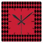 Harlequin rojo y negro reloj de pared