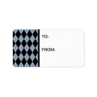 Harlequin Slate and Black Address Label
