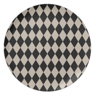 Harlequin Tan and Black Party Plate