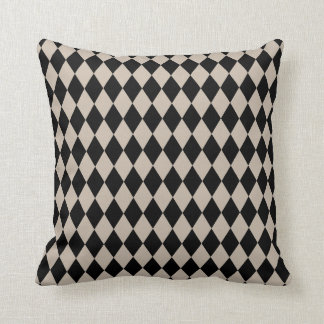 Harlequin Tan and Black Throw Pillow