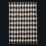 """Harlequin Tan and Black Towel<br><div class=""""desc"""">The classic traditional style of elegant  Harlequin diamonds pattern in contemporary sandy beige khaki tan and black</div>"""