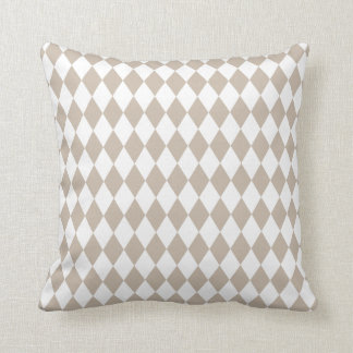 Harlequin Tan and White Throw Pillow