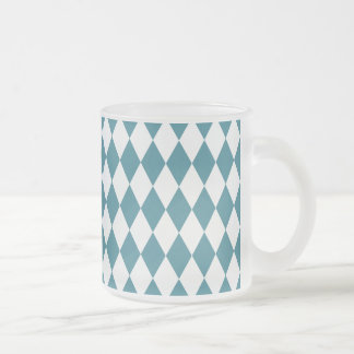 Harlequin Teal and White Frosted Glass Coffee Mug