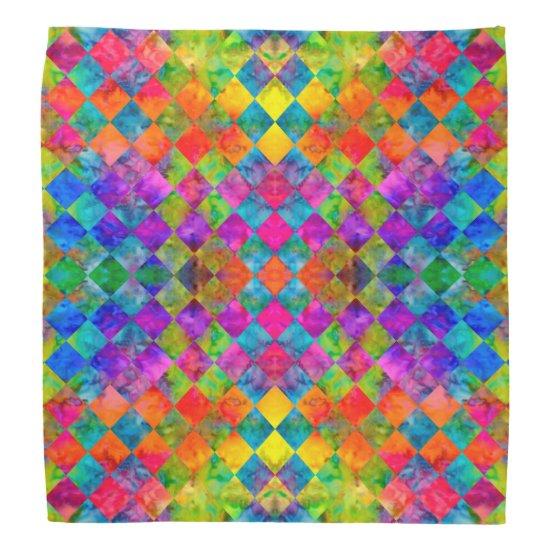 [Harlequin Tie-Dye] Diamond Fractal Checkered Bandana