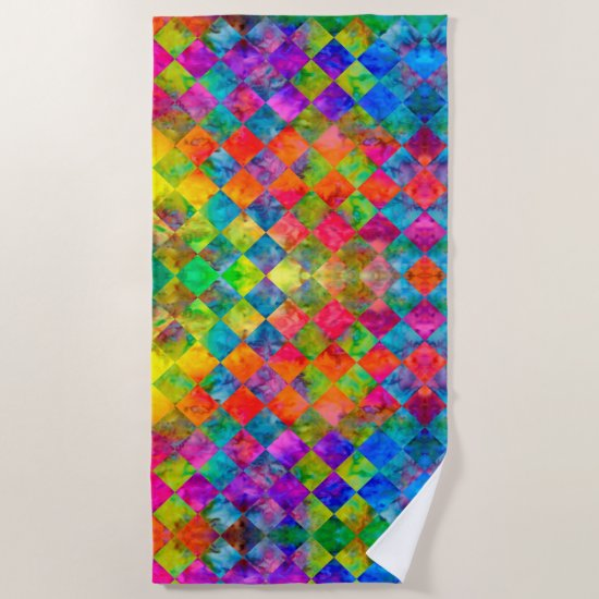 [Harlequin Tie-Dye] Diamond Fractal Checkered Beach Towel