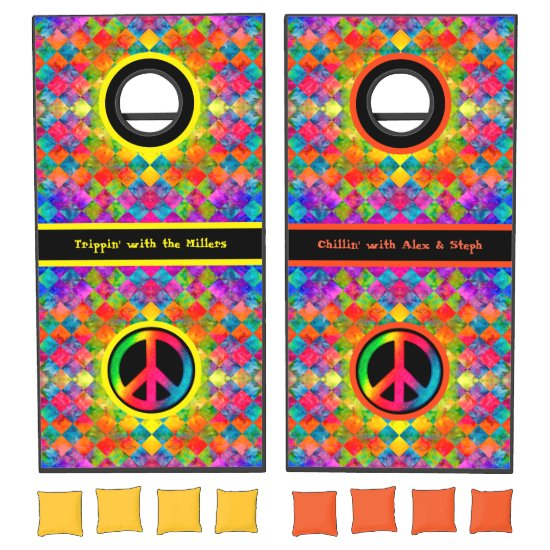 [Harlequin Tie-Dye] Diamond Fractal Checkered Cornhole Set