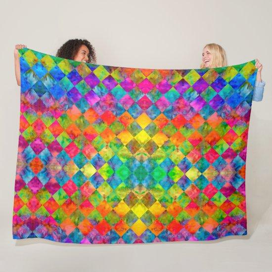 [Harlequin Tie-Dye] Diamond Fractal Checkered Fleece Blanket