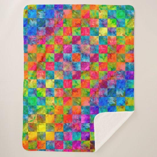 [Harlequin Tie-Dye] Diamond Fractal Checkered Sherpa Blanket
