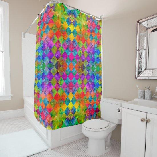 [Harlequin Tie-Dye] Diamond Fractal Checkered Shower Curtain