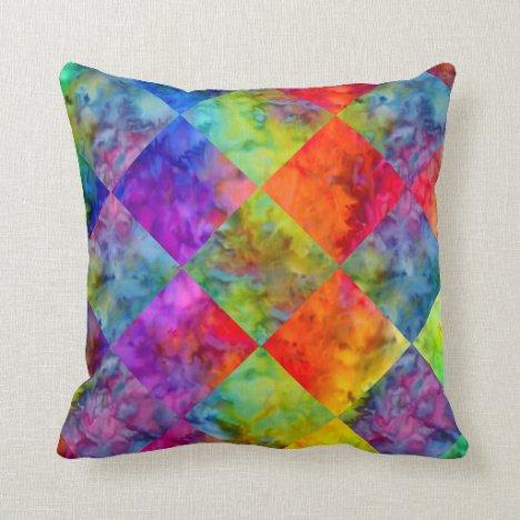 [Harlequin Tie-Dye] Diamond Fractal Checkered Throw Pillow