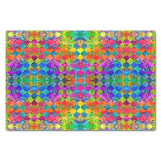 [Harlequin Tie-Dye] Diamond Fractal Checkered Tissue Paper