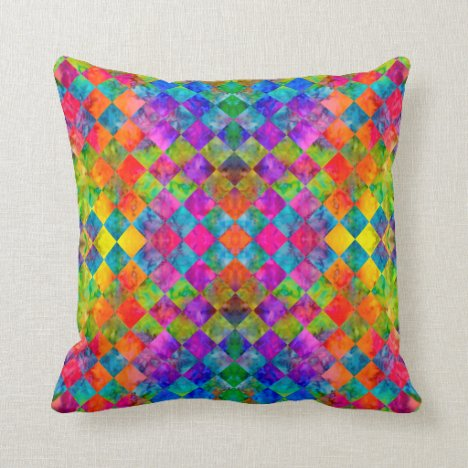 [Harlequin Tie-Dye] Diamond Fractal Checkered (v2) Throw Pillow