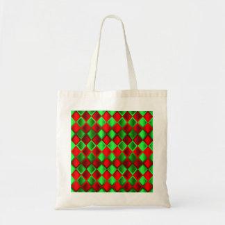 Harlequin verde rojo del edredón bolsa tela barata