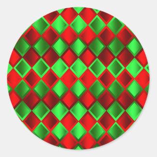 Harlequin verde rojo del edredón pegatina redonda