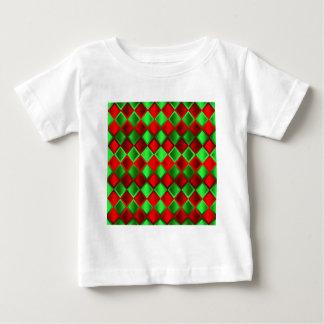 Harlequin verde rojo del edredón playeras