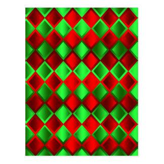 Harlequin verde rojo del edredón postal