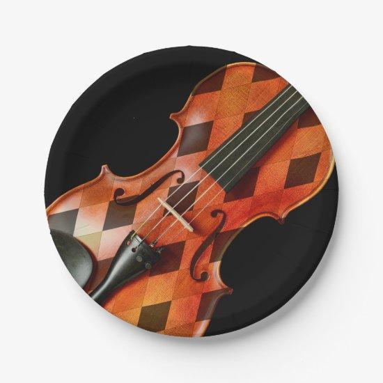 Harlequin Violin Paper Plate