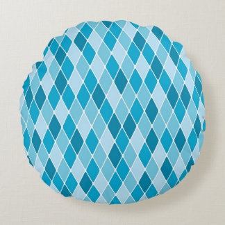 Harlequin winter pattern round pillow