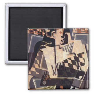 Harlequin with a Guitar, 1917 2 Inch Square Magnet