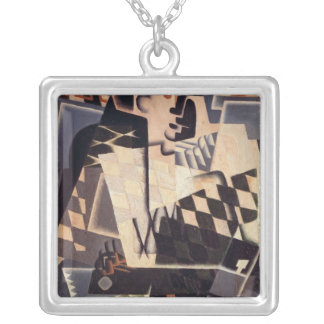 Harlequin with a Guitar, 1917 Square Pendant Necklace
