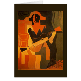 Harlequin with Guitar by Juan Gris Card