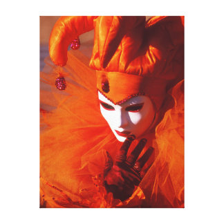 Harlequin With Orange Costume and White Mask Canvas Print