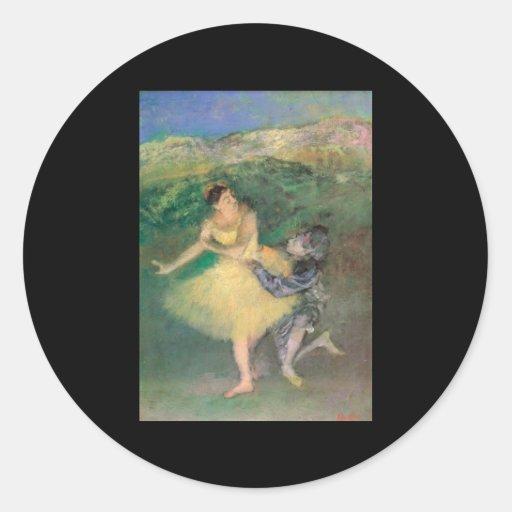 Harlequin y Colombine de Edgar Degas Pegatina Redonda