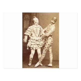 Harlequin y payaso del vintage postales