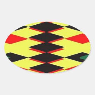 Harlequin Yellow Jokers Deck Oval Sticker