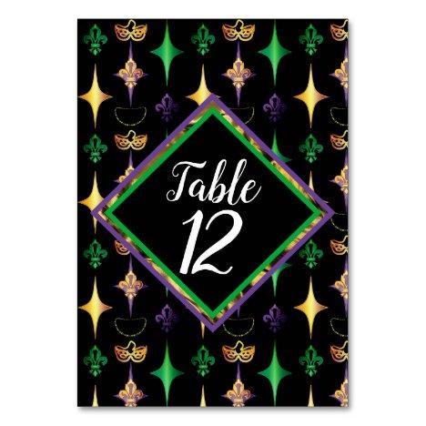 Harlequins Beads Mask Fleur de Lis Mardi Gras Table Number
