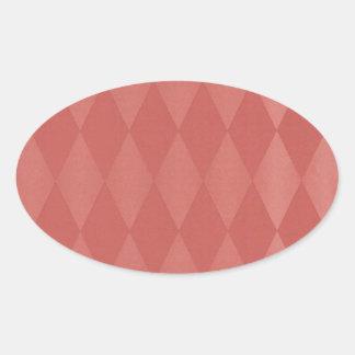 Harlequins de color salmón oxidados pegatina ovalada