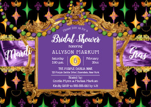 ec4b23b5705a Harlequins Fleur de Lis Mardi Gras Bridal Shower Invitation