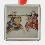 Harley 4205 f.366 caballeros Jousting, c.1445 (vit Ornamente De Reyes