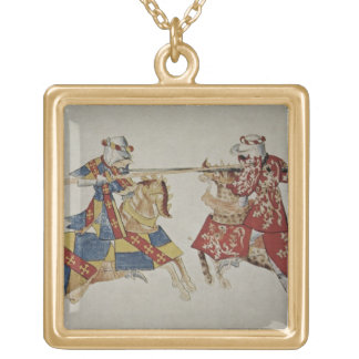 Harley 4205 f.366 Jousting Knights, c.1445 (vellum Gold Plated Necklace