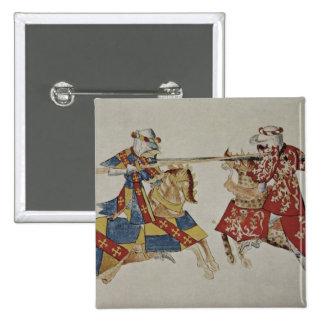 Harley 4205 f.366 Jousting Knights, c.1445 (vellum Pinback Button