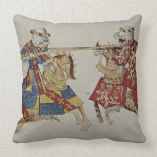 Harley 4205 f.366 Jousting Knights, c.1445 (vellum Throw Pillow